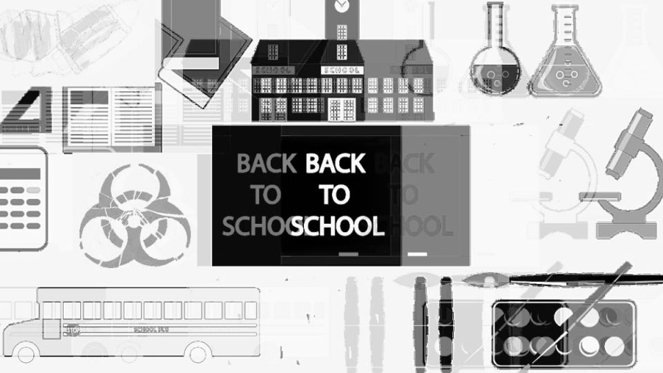 A distorted black and white collage of typical back to school supplies and symbols, overlaid with ominous signs of the times, including face masks and a bio-hazard symbol