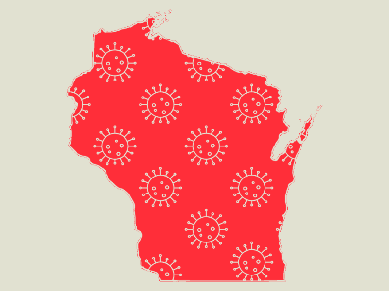 A picture of the state of Wisconsin, red with tiny white illustrations of the COVID-19 virus