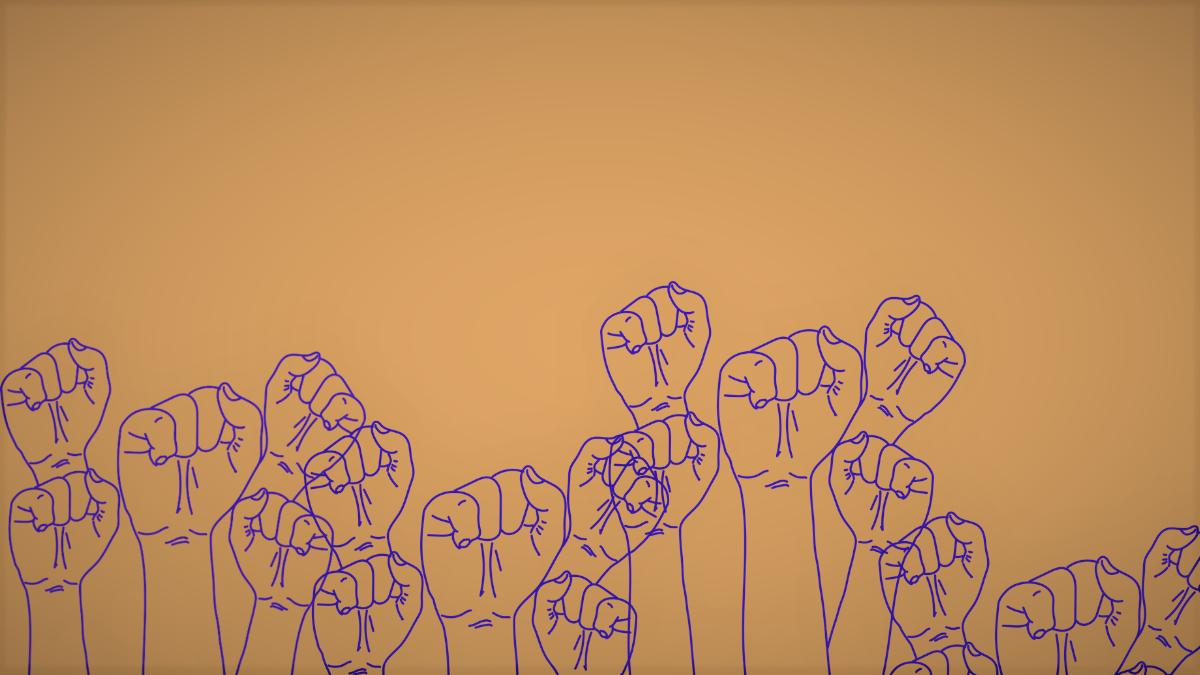 Purple illustrated fists raised against an orange background