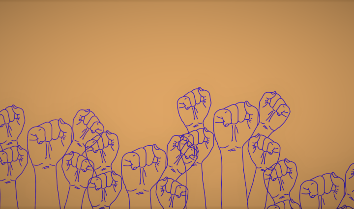 Purple illustrated fists raised against an orange background